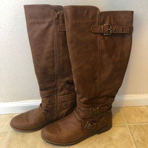 JustFab Paulina Wide Calf Brown Riding Boots